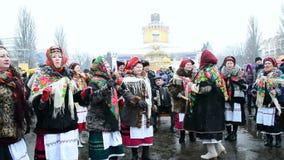Εορτασμός Shrovetide (Maslenitsa) στο Κίεβο, Ukrai απόθεμα βίντεο