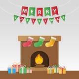 Εορταστικά δώρα Χριστουγέννων και διακοσμημένη εστία για την εποχή ` s gre διανυσματική απεικόνιση