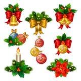 Εορταστικά εικονίδια διακοσμήσεων Χριστουγέννων καθορισμένα Στοκ Εικόνες
