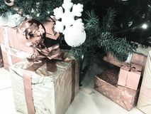Εορταστικά ζωηρόχρωμα όμορφα λαμπρά κιβώτια δώρων, διακοσμήσεις κάτω από το πράσινο δέντρο Χριστουγέννων με τις βελόνες και κλάδο στοκ εικόνες