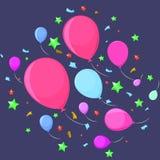Εορταστικά πετώντας μπαλόνια με τα αστέρια Στοκ εικόνες με δικαίωμα ελεύθερης χρήσης