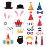 Εορταστικά στοιχεία γιορτών γενεθλίων των στηριγμάτων απεικόνιση αποθεμάτων
