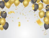 Εορταστικά χρυσά μπαλόνια καρτών και κομφετί, πρόσκληση κομμάτων Fes ελεύθερη απεικόνιση δικαιώματος