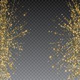 Εορταστική έκρηξη του κομφετί Ο χρυσός ακτινοβολεί υπόβαθρο για την κάρτα, πρόσκληση Διακοσμητικό στοιχείο διακοπών απεικόνιση αποθεμάτων