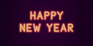 Εορταστική επιγραφή νέου για καλή χρονιά Στοκ φωτογραφία με δικαίωμα ελεύθερης χρήσης
