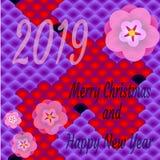Εορταστική κάρτα στο ασιατικό ύφος με το κείμενο - ευτυχείς νέες έτος και Χαρούμενα Χριστούγεννα του 2019 διανυσματική απεικόνιση