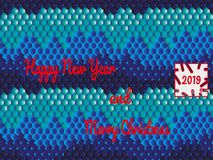 Εορταστική κάρτα στο ασιατικό ύφος με το κείμενο - καλή χρονιά και Χαρούμενα Χριστούγεννα διανυσματική απεικόνιση