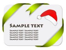 εορταστική κορδέλλα καπέλων Χριστουγέννων καρτών Στοκ φωτογραφία με δικαίωμα ελεύθερης χρήσης