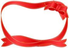 εορταστική κόκκινη κορδέ& Στοκ φωτογραφία με δικαίωμα ελεύθερης χρήσης