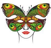 Εορταστική μάσκα Filigree πρότυπο μασκών πεταλούδων διανυσματική απεικόνιση