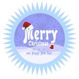 Εορταστική στρογγυλή διανυσματική αυτοκόλλητη ετικέττα με την κομμένη οδοντωτά άκρη σε ένα επίπεδο ύφος Χριστούγεννα επιγραφής χα Στοκ Εικόνες