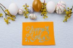 Εορταστική σύνθεση αυγών Πάσχας Στοκ Εικόνες