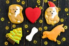 Εορταστική σύνθεση των γλυκών Πολύχρωμο μελόψωμο Τοπ όψη Στοκ Εικόνα