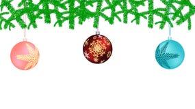 Εορταστική όμορφη κάρτα Χριστουγέννων με τρεις πολύχρωμες κόκκινες μπλε και ρόδινες σφαίρες Χριστουγέννων, διακοσμήσεις Χριστουγέ ελεύθερη απεικόνιση δικαιώματος