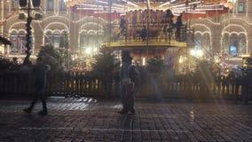Εορταστικοί εορτασμοί στην κόκκινη πλατεία απόθεμα βίντεο