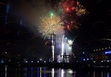 Εορταστικοί φωτισμοί στο λιμένα της Βάρνας, Βουλγαρία στοκ εικόνα
