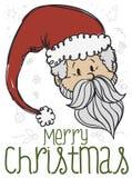 Εορταστικός Άγιος Βασίλης Doodle για τον εορτασμό Χριστουγέννων, διανυσματική απεικόνιση απεικόνιση αποθεμάτων