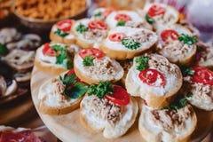 Εορταστικός αλμυρός μπουφές, ψάρια, κρέας, τσιπ, σφαίρες τυριών και άλλες ειδικότητες για τον εορτασμό των γάμων και άλλων γεγονό στοκ εικόνες