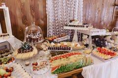 Εορταστικός αλμυρός μπουφές, ψάρια, κρέας, τσιπ, σφαίρες τυριών και άλλες ειδικότητες για τον εορτασμό των γάμων και άλλων γεγονό στοκ εικόνα