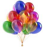 Εορταστικός ζωηρόχρωμος διακοσμήσεων μπαλονιών κομμάτων δεσμών μπαλονιών γενεθλίων διανυσματική απεικόνιση