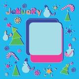 Εορταστικός Ιανουάριος τα κεντρικά χρώματα αποτελούνται αντίθεσης δροσερός ακρών πλαισίων χειμώνας σύστασης χιονιού προτύπων πάγο διανυσματική απεικόνιση