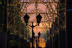 Εορταστικός νέος φωτισμός έτους ` s στη Μόσχα Στοκ Εικόνες