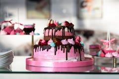 εορταστικός πίνακας εστιατορίων το κομψό ρόδινο κέικ, παιδιά συσσωματώνει, κέικ γενεθλίων, γλυκός πίνακας, φραγμός καραμελών, Στοκ Εικόνα