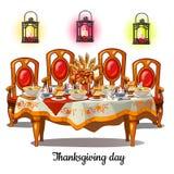 Εορταστικός πίνακας με τα τρόφιμα στην ημέρα των ευχαριστιών Εκλεκτής ποιότητας εσωτερικό τραπεζαρίας που απομονώνεται στο άσπρο  απεικόνιση αποθεμάτων