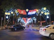 Εορταστικός φωτισμός για Tet, Saigon Στοκ Εικόνα