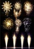 Εορταστικός χαιρετισμός πυροτεχνημάτων που εκρήγνυται στο μαύρο υπόβαθρο Συλλογή των ζωηρόχρωμων διανυσματικών πυροτεχνημάτων, sp Στοκ Εικόνα