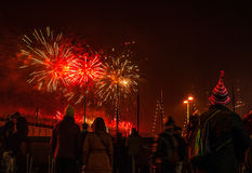 Εορταστικός χαιρετισμός των πυροτεχνημάτων στη νύχτα του νέου έτους Την 1η Ιανουαρίου 2016 στο Άμστερνταμ - Netherland Στοκ Εικόνες