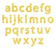 Εορταστικός χρυσός πολυτέλειας ακτινοβολεί λαμπιρίζοντας επιστολές αλφάβητου ελεύθερη απεικόνιση δικαιώματος