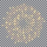 Εορταστικός χρυσός χαιρετισμός πυροτεχνημάτων που εκρήγνυται σε ένα διαφανές υπόβαθρο διανυσματική απεικόνιση