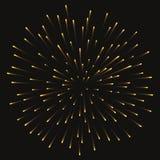 Εορταστικός χρυσός χαιρετισμός πυροτεχνημάτων που εκρήγνυται στο διαφανές υπόβαθρο επίσης corel σύρετε το διάνυσμα απεικόνισης ελεύθερη απεικόνιση δικαιώματος