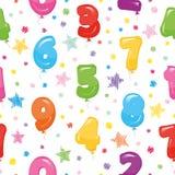 Εορταστικό άνευ ραφής σχέδιο με τους ζωηρόχρωμους αριθμούς και το κομφετί μπαλονιών Για τα γενέθλια, ντους μωρών, σχέδιο διακοπών Στοκ Φωτογραφία