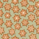 Εορταστικό άνευ ραφής σχέδιο Χριστουγέννων με τα αστέρια μελοψωμάτων ελεύθερη απεικόνιση δικαιώματος