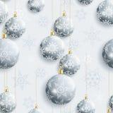 Εορταστικό άνευ ραφής σχέδιο με τις σφαίρες Χριστουγέννων διανυσματική απεικόνιση