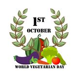 Εορταστικό έμβλημα με τα λαχανικά την παγκόσμια χορτοφάγο ημέρα Στοκ εικόνες με δικαίωμα ελεύθερης χρήσης