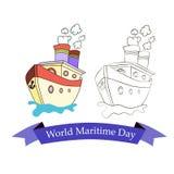 Εορταστικό έμβλημα με την εικόνα ενός σκάφους την παγκόσμια θαλάσσια ημέρα Στοκ φωτογραφίες με δικαίωμα ελεύθερης χρήσης