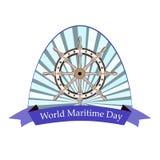 Εορταστικό έμβλημα με την εικόνα του τιμονιού την παγκόσμια θαλάσσια ημέρα Στοκ εικόνες με δικαίωμα ελεύθερης χρήσης