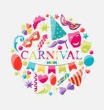 Εορταστικό έμβλημα με τα ζωηρόχρωμα εικονίδια καρναβαλιού Στοκ φωτογραφία με δικαίωμα ελεύθερης χρήσης