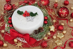 Εορταστικό κέικ Χριστουγέννων Στοκ Εικόνες