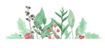 Εορταστικό μούρο της Holly στεφανιών διακοπών χειμερινών συνόρων Watercolor απεικόνιση αποθεμάτων