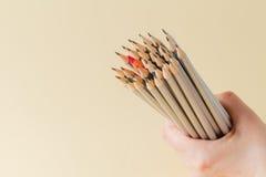 Εορταστικό μολύβι μεταξύ των συνηθισμένων μολυβιών Στοκ Φωτογραφία