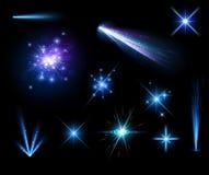 Εορταστικό μπλε σύνολο πυροτεχνημάτων διανυσματική απεικόνιση