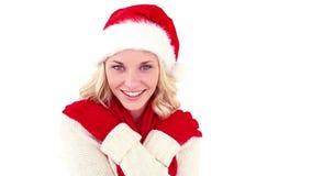 Εορταστικό νέο ξανθό χαμόγελο στη κάμερα φιλμ μικρού μήκους