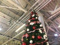Εορταστικό πράσινο όμορφο κομψό χριστουγεννιάτικο δέντρο με τις σφαίρες για το νέο έτος στο υπόβαθρο του ανώτατου ορίου με τον εξ στοκ φωτογραφία