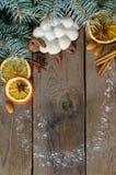Εορταστικό πλαίσιο με τα μπισκότα και τα καρυκεύματα Στοκ φωτογραφία με δικαίωμα ελεύθερης χρήσης