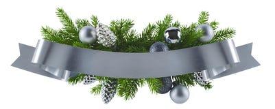 Εορταστικό πλούσιο στοιχείο διακοσμήσεων Χριστουγέννων ασημένιο Στοκ Φωτογραφία