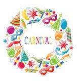 Εορταστικό στρογγυλό πλαίσιο με τα ζωηρόχρωμα εικονίδια καρναβαλιού Στοκ Εικόνες